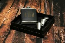 Personalised Black Leather Style Hip Flask Funnel Cup Gift Set Engraving