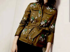 Large - ANN TAYLOR Easy Zip & Snap Embroidered Green Safari Anorak Jacket Coat