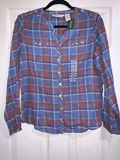 Orvis Brushed Cotton Long Sleeve Shirt - Ladies Small - Blue Plaid Nwt