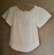 J. Crew Cotton off the shoulder top F2059 shirt blouse white Size 12
