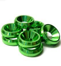 td10076 M3 3mm Avellanada Arandelas aleación de aluminio verde x 8