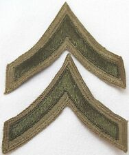 WWII US Army private first class stripes chevron tan cotton green pair P7319