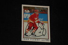 THEO FLEURY 1991-92 OPC PREMIER SIGNED AUTOGRAPHED CARD #92 CALGARY FLAMES