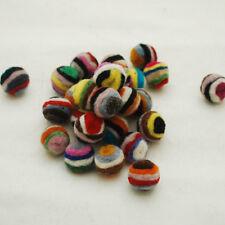 Handmade 100% wool felt balls - Striped - 1.5cm -  20 Count