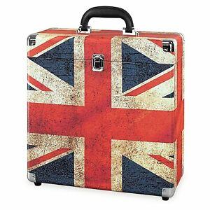 Victrola Vintage Vinyl Record Storage Carrying Case for 30+ Records UK Flag