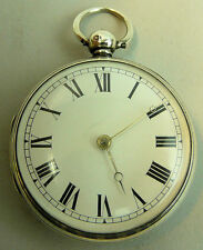 ANTIQUE GENTS SILVER FUSEE MOVEMENT POCKET WATCH LONDON 1841 - 97 GRAMS
