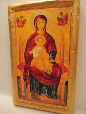 Virgin Mary Jesus Christ Catholic and Orthodox Religious Icon Art on Real Wood