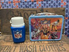 Vintage 1978 NFL Metal Lunch Box And Thermos AFC NFC Sports Football