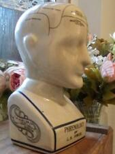 FABULOUS ANTIQUE STYLE L.N. FOWLER PHRENOLOGY HEAD IN A CRACKLE GLAZE FINISH