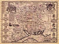 Map Antique 1610 Speed Hampshire Hundreds Winchester Repro Canvas Art Print