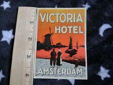 Victoria Hotel Amsterdam, Netherlands, Boats, Ships, Vintage Luggage Label