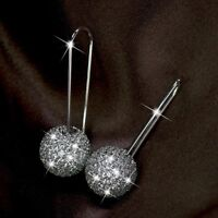 18k white gold gf made with SWAROVSKI crystal ball stud dangle hook earrings