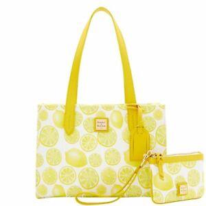 Dooney & Bourke Limone Canvas Small Shopper & Medium Wristlet Brand New