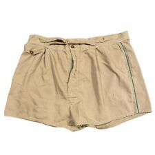 70s VTG Khaki Shorts Green Piping Accent Belted 36