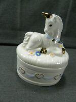 Unicorn Horse Trinket Box Vintage 1985 Heart Ceramic Jewelry Fantasy Keepsake