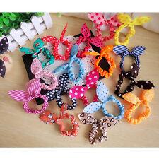 10pcs Popular Vouge Korean Cute Bunny Rabbit Ear Hair Tie Bands Dot Bow Headband