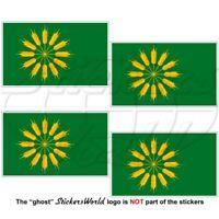 TIREE Island Flag, Inner Hebrides SCOTLAND UK, Scottish 50mm Stickers Decals x4