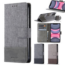 Canvas Leather Splicing Wallet Case For Samsung A02S A12 A72 A21S A9 A7 A5 A8 A6