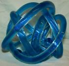 BLUE BLOWN ART GLASS TWISTED ROPE SCULPTURE / PAPERWEIGHT