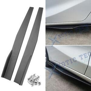 Universal Carbon Fiber Texture Rear Side Skirt Winglets Diffusers Extension 2pcs