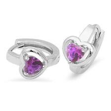 Amethyst Heart Hoop .925 Sterling Silver Earrings