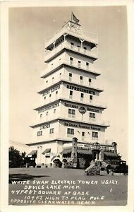 H21/ Devils Lake Michigan RPPC Postcard Clearwater Beach White Swan Tower
