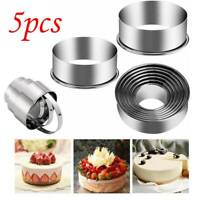 5PCS Stainless Steel Round Cookie Cutter Set Circle Kitchen Baking Pastry Cutter