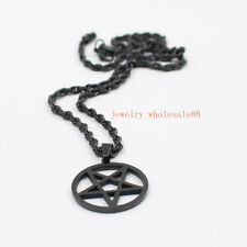 Black Stainless Steel Pagan Wicca Inverted Star Pentagram Pendant Mens Necklace