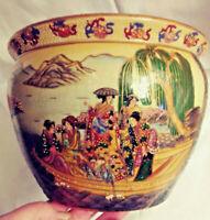 Vintage Chinese Koi Planter - Satsuma Fish Bowl - Geisha Ware - Porcelain