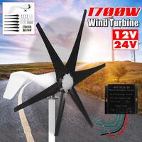 1700W 12V 24V 6 Blades Horizontal Wind Turbine Generator Power+Charge Controller