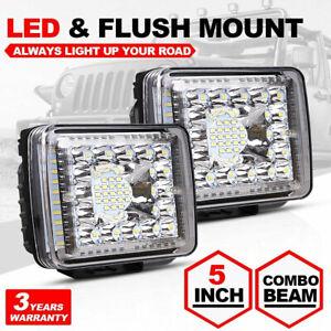 "2X 5"" Flush Mount 200W LED Work Light Bar Rear Bumper Reverse Pods 4-Row Driving"