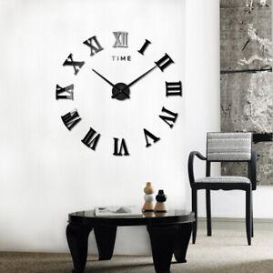 Wanduhr Deko Spiegel Wandtattoo 3D Design Wohnzimmer Römischen Ziffern Wand Uhr