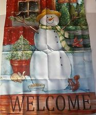 """New listing Christmas Large Porch Flag 28"""" X 40"""" Snowman Welcome Flip-It Flag"""