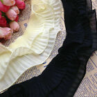 2/5 Yards Stretch 3-layer Gathered Lace Edge Trim Elastic Pleated Sewing Ribbon