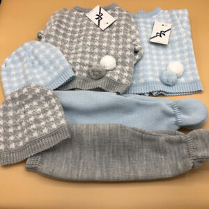 Baby babies boys knitted Spanish outfit & bonnet grey pale blue white newborn