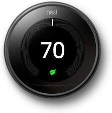 Google Nest T3018US 3rd Gen Programmable Learning Thermostat Mirror Black Alexa