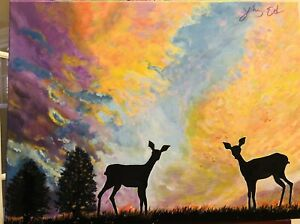 """""""Deer Under The Sunset"""" original by YingEd, Acrylic On Canvas  18""""x24"""""""