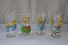 SET OF FOUR VINTAGE HOMER SIMPSON CHARACTER NUTELLA GLASSES MATT GROENING
