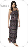 NEW BY B. YOU ~ CROSS BACK BEADED MAXI DRESS ~ AZTEC PRINT ~ UK SIZE 8 BNWT