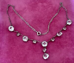 Vintage Art Deco Czech Bezel Set Clear Glass Drop Silver Tone Necklace c1920's