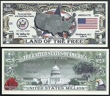 Lot of 25 Bills- Usa America Million Dollar Bill w Map, Seal, Flag, Capitol