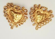 RESERVED Christian Lacroix PARIS Vintage GOLDTONE Hearts w Scroll work  Earrings