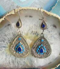 RW Ohrring Neusilber Stein blau orientalisch Schmuck der Kuchi-Nomaden