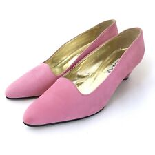 Vintage Escada Pink Nubuck Leather Career Heel Pumps Womens Size 7B Shoes Italy