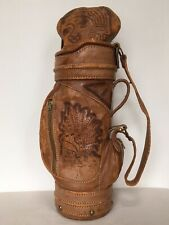 "Vtg Figueroa Mini Golf Bag Wine Bottle Tote 15"" Mexico Aztec Distressed Leather"