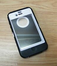 OtterBox Defender Series Black & White Fitted Plastic & Rubber Case For iPhone 4