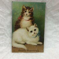 Vintage Embossed Hearty Greetings Postcard Two Cats Kittens Cute Kitten Unused