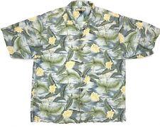 Tommy Bahama Men's Large Aloha Floral Hawaiian Shirt 100% Silk
