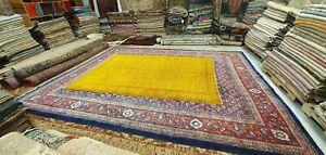 "Antique 1930-1940's Distressed Wool Pile Saffron Orange Oushak Rug 6'2"" x 9'6"""