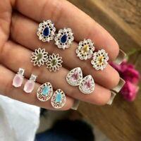 6Pairs/Set Boho Crystal Flower Ear Studs Earrings Women Jewellery Wedding Gift